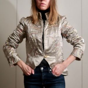 Stella McCartney Silk bomber jacket metallic sage
